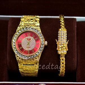 Other - Gold Plated Nugget Watch, Stainless Bracelet Set